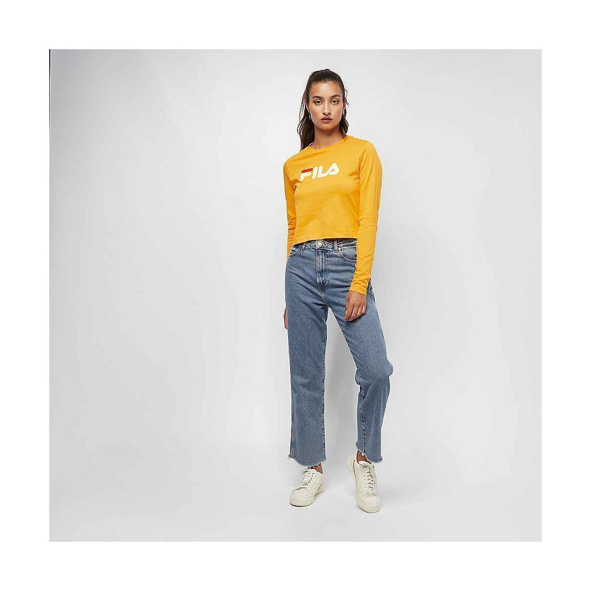 SPAINSTRAP MARCELINE CROPPED LS SHIRT:JAUNE/POLYESTER/POLYESTER//Jaune
