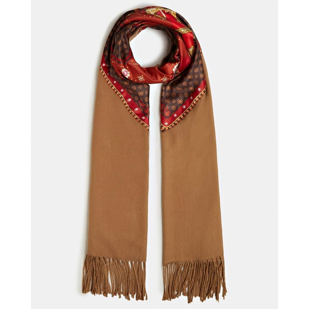 CLARKDALE HILL PRINTED SCARF:CAMEL/POLYESTER/POLYESTER//Camel