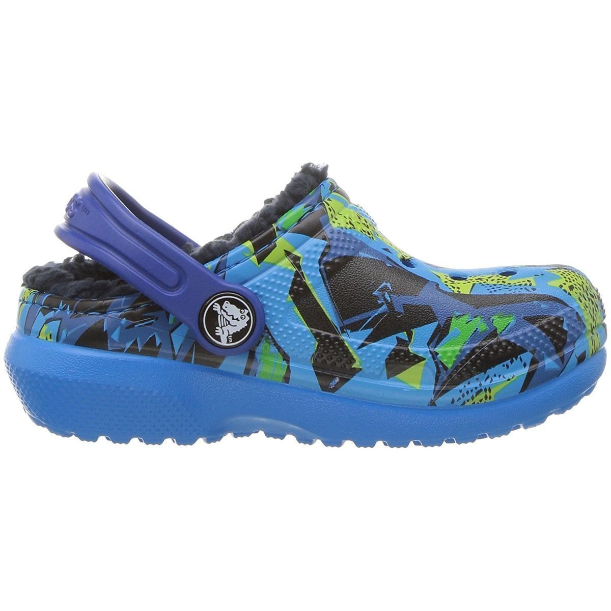 Crocs fille kids classic fuzz lined graphic clog bleu