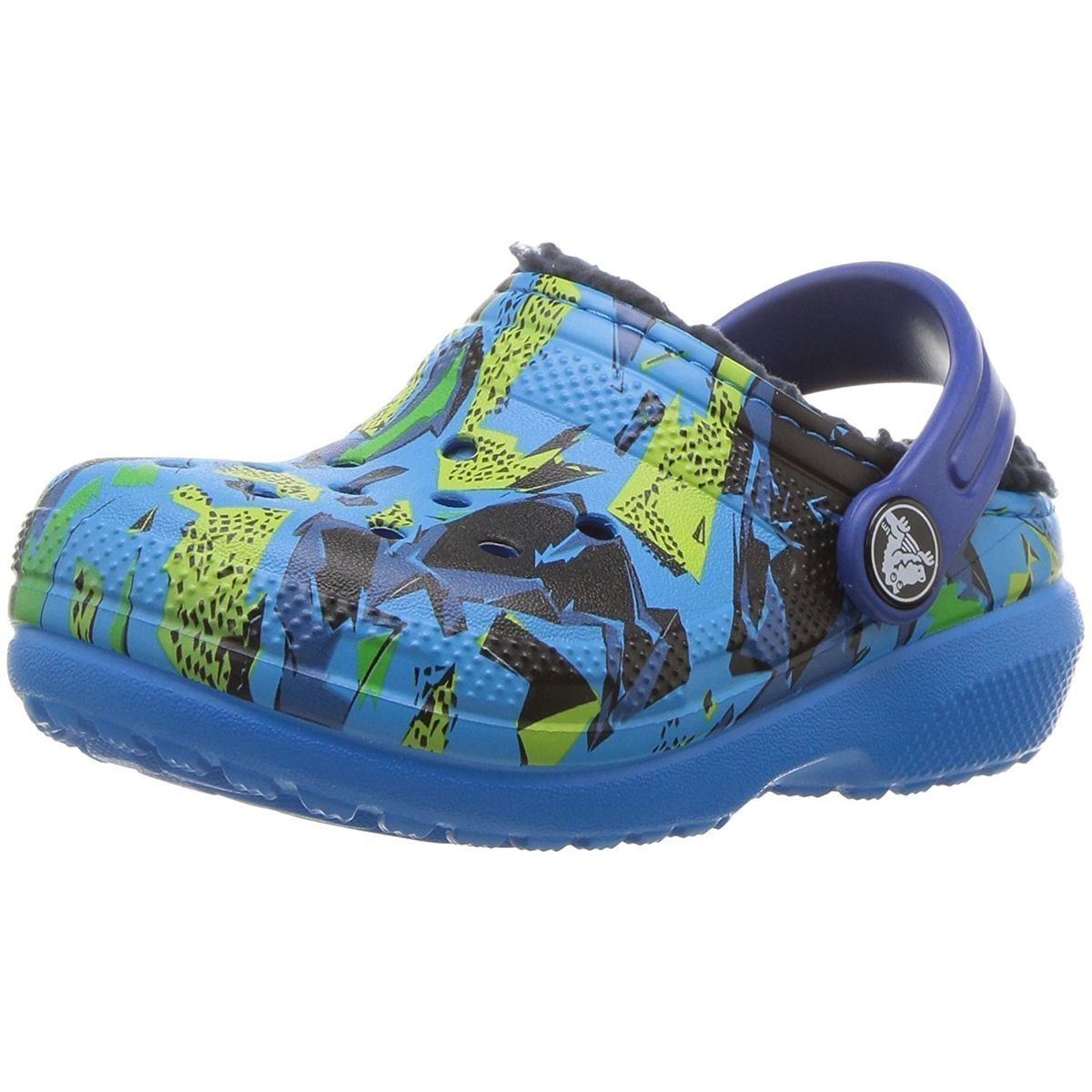 Crocs fille kids classic fuzz lined graphic clog bleu1595001_2