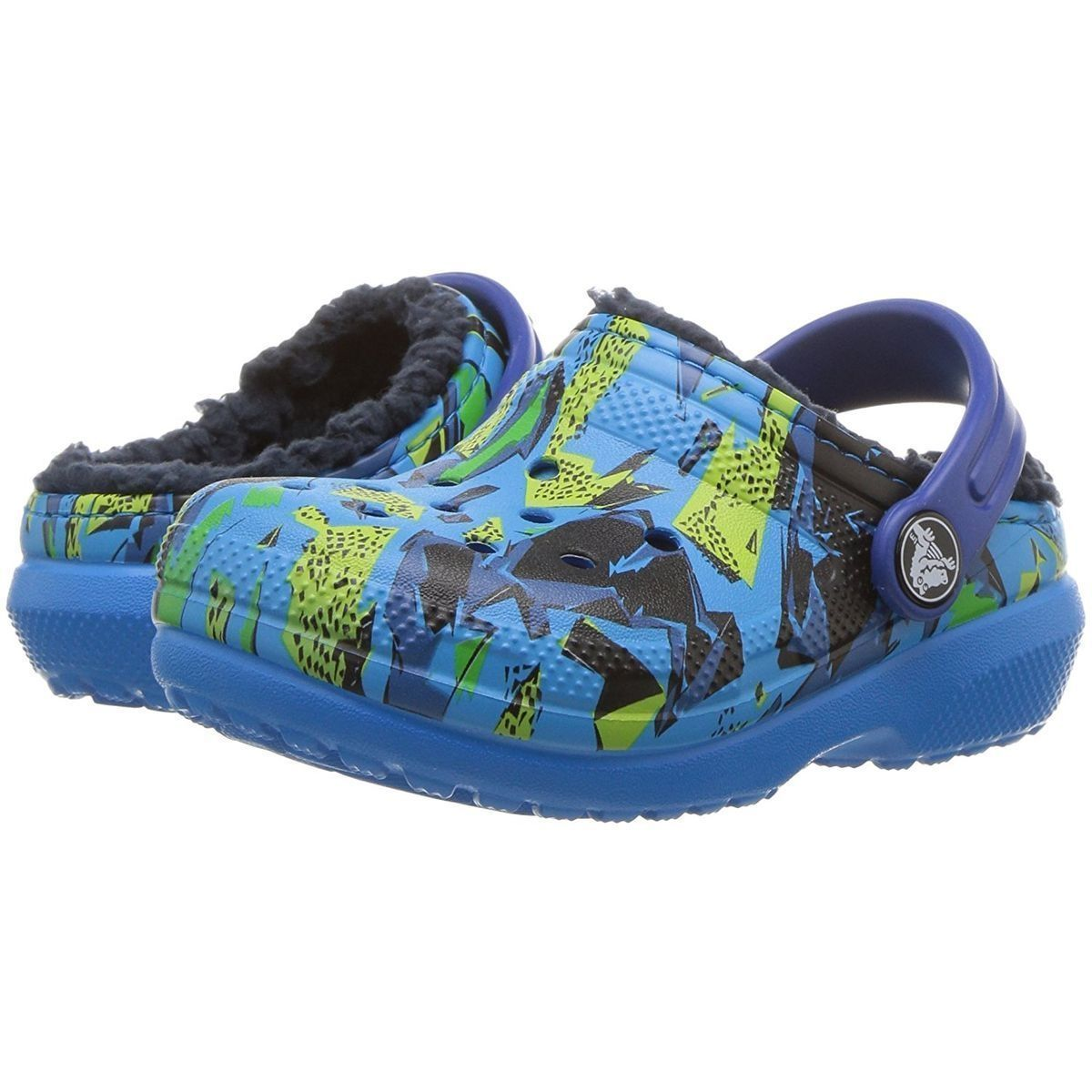 Crocs fille kids classic fuzz lined graphic clog bleu1595001_5